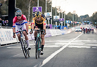 Mathieu Van der Poel (NED/Alpecin-Fenix) pipping Wout van Aert (BEL/Jumbo - Visma) on the finish line for the win of the 104th Ronde van Vlaanderen 2020 (1.UWT)<br /> <br /> 1 day race from Antwerpen to Oudenaarde (BEL/243km) <br /> <br /> ©kramon