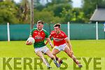 Kevin McCArthy Kilcummin gets to the ball ahead of Padraig O Conchubhair Dingle during their Snr Club Chamiponship clash in Kilcummin on Saturday