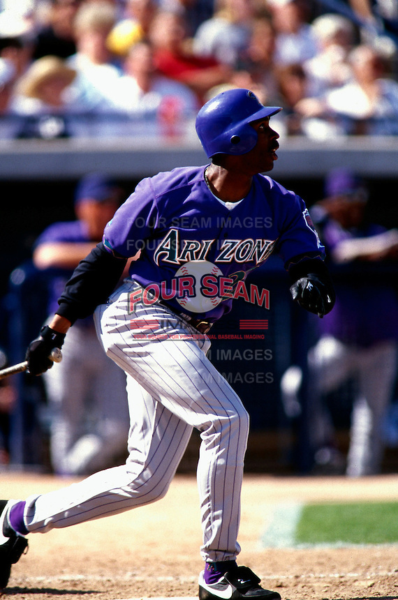 Devon White of the Arizona Diamondbacks participates in a Major League Baseball Spring Training game during the 1998 season in Phoenix, Arizona. (Larry Goren/Four Seam Images)