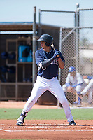 AZL Padres 1 right fielder Agustin Ruiz (24) at bat during an Arizona League game against the AZL Royals at Peoria Sports Complex on July 4, 2018 in Peoria, Arizona. The AZL Royals defeated the AZL Padres 1 5-4. (Zachary Lucy/Four Seam Images)