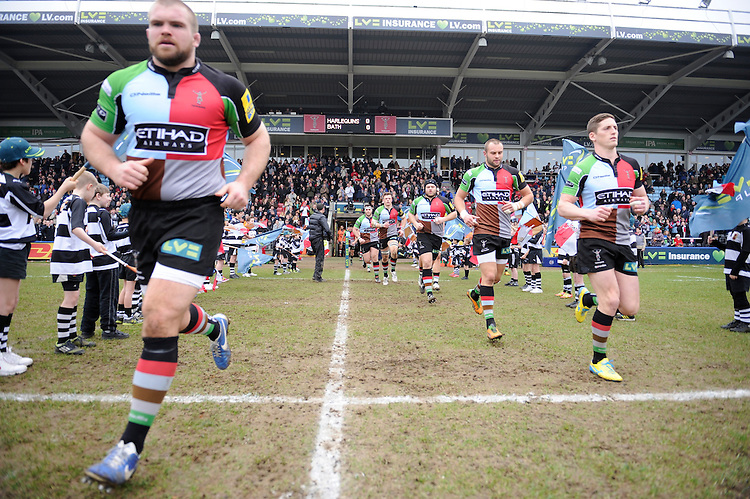 20130309 Copyright onEdition 2013©.Free for editorial use image, please credit: onEdition..Harlequins players run out before the LV= Cup semi final match between Harlequins and Bath Rugby at The Twickenham Stoop on Saturday 9th March 2013 (Photo by Rob Munro)..For press contacts contact: Sam Feasey at brandRapport on M: +44 (0)7717 757114 E: SFeasey@brand-rapport.com..If you require a higher resolution image or you have any other onEdition photographic enquiries, please contact onEdition on 0845 900 2 900 or email info@onEdition.com.This image is copyright onEdition 2013©..This image has been supplied by onEdition and must be credited onEdition. The author is asserting his full Moral rights in relation to the publication of this image. Rights for onward transmission of any image or file is not granted or implied. Changing or deleting Copyright information is illegal as specified in the Copyright, Design and Patents Act 1988. If you are in any way unsure of your right to publish this image please contact onEdition on 0845 900 2 900 or email info@onEdition.com