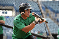 Daytona Tortugas first baseman Sammy Diaz (10) in the batting cage during practice before a game against the Tampa Yankees on April 24, 2015 at George M. Steinbrenner Field in Tampa, Florida.  Tampa defeated Daytona 12-7.  (Mike Janes/Four Seam Images)