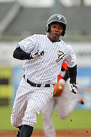 Empire State Yankees outfielder Dewayne Wise #10 during a game against the Norfolk Tides at Dwyer Stadium on April 22, 2012 in Batavia, New York.  Empire State defeated Norfolk 6-5, the Yankees are playing all their games on the road this season as their stadium gets renovated.  (Mike Janes/Four Seam Images)
