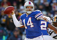 BUFFALO, NY - NOVEMBER 28:  Ryan Fitzpatrick #14 of the Buffalo Bills drops back to pass during the game against the Pittsburgh Steelers on November 28, 2010 at Ralph Wilson Stadium in Buffalo, New York.  (Photo by Jared Wickerham/Getty Images)