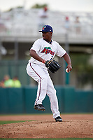 Fort Myers Miracle relief pitcher Randy Rosario (25) delivers a pitch during a game against the Jupiter Hammerheads on April 9, 2017 at CenturyLink Sports Complex in Fort Myers, Florida.  Jupiter defeated Fort Myers 3-2.  (Mike Janes/Four Seam Images)