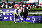 6 November 2009: Robby Albarado aboard Tapitsfly (#10 gray) in a stretch duel with #4 Rose Catherine in the Breeder's Cup Juvenile Filly Turf race at Oak Tree at Santa Anita in Arcadia California.