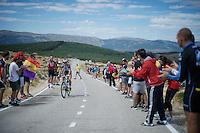 yesterday's stage winner Alexis Gougeard (FRA/Ag2r-La Mondiale) rides sole between the head group & the peloton <br /> <br /> stage 20: San Lorenzo de el Escorial - Cercedilla (176km)<br /> 2015 Vuelta à Espana