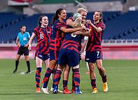 SAITAMA, JAPAN - JULY 24: Lindsey Horan #9 of the USWNT celebrates her goal with Julie Ertz #8 during a game between New Zealand and USWNT at Saitama Stadium on July 24, 2021 in Saitama, Japan.