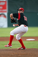 August 23 2008:  Pitcher Thomas Eager of the Batavia Muckdogs, Class-A affiliate of the St. Louis Cardinals, during a game at Dwyer Stadium in Batavia, NY.  Photo by:  Mike Janes/Four Seam Images