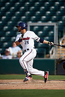 Fort Myers Miracle first baseman Zander Wiel (24) follows through on a swing during a game against the Jupiter Hammerheads on April 9, 2017 at CenturyLink Sports Complex in Fort Myers, Florida.  Jupiter defeated Fort Myers 3-2.  (Mike Janes/Four Seam Images)
