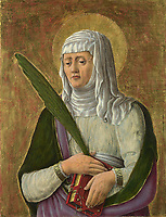 Full title: A Female Saint<br /> Artist: Giorgio Schiavone<br /> Date made: probably about 1456-61<br /> Source: http://www.nationalgalleryimages.co.uk/<br /> Contact: picture.library@nationalgallery.co.uk<br /> <br /> Copyright © The National Gallery, London