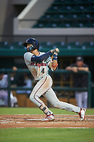 Fort Myers Miracle shortstop Royce Lewis (4) hits a single up the middle during a game against the Lakeland Flying Tigers on August 7, 2018 at Publix Field at Joker Marchant Stadium in Lakeland, Florida.  Fort Myers defeated Lakeland 5-0.  (Mike Janes/Four Seam Images)