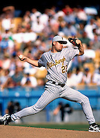 Jason Schmidt of the Pittsburgh Pirates participates in a Major League Baseball game at Dodger Stadium during the 1998 season in Los Angeles, California. (Larry Goren/Four Seam Images)
