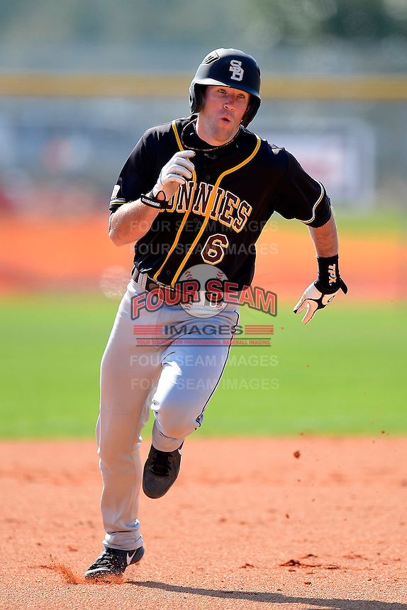 St. Bonaventure Bonnies third baseman Billy Urban #6 during a game against the Chicago State University Cougars at South County Regional Park on March 3, 2013 in Punta Gorda, Florida.  St. Bonaventure defeated Chicago State 16-3.  (Mike Janes/Four Seam Images)