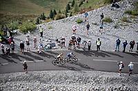 Julian Alaphilippe (FRA/Deceuninck-QuickStep) & George Bennett (NZL/Jumbo-Visma) up the finish climb & the highest peak of the 2020 #TdF: the Col de la Loze (HC/2304m/21,5km @7,8%)<br /> <br /> Stage 17 from Grenoble to Méribel - Col de la Loze (170km)<br /> <br /> 107th Tour de France 2020 (2.UWT)<br /> (the 'postponed edition' held in september)<br /> <br /> ©kramon