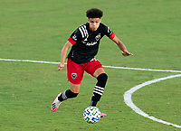 WASHINGTON, DC - SEPTEMBER 12: Kevin Paredes #30 of D.C. United dribbles during a game between New York Red Bulls and D.C. United at Audi Field on September 12, 2020 in Washington, DC.