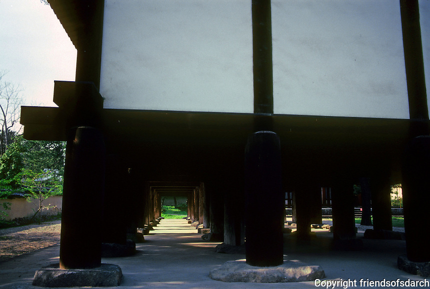 Nara: Horyuji--Shoryo-in  (Prince's Temple). Pilotis. Photo '82.