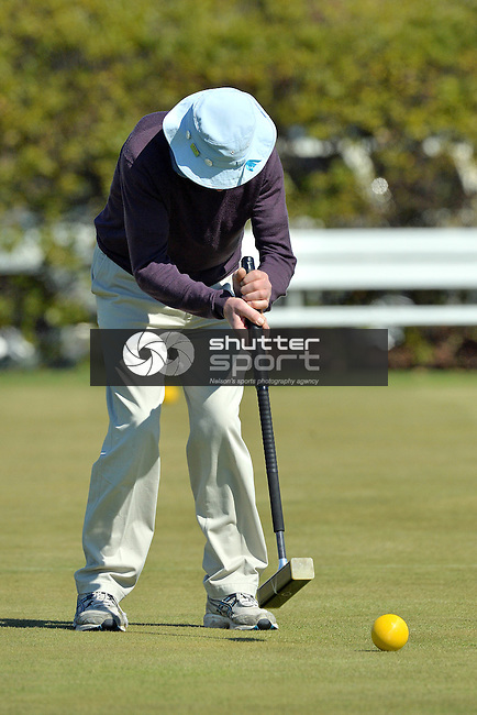 NELSON, NEW ZEALAND - SEPTEMBER 28: Croquet Association at the Nelson Hinemoa Croquet Club during the NZCT 2015 South Island Masters Games, September 28, 2015 in Nelson, New Zealand. (Photo by Barry Whitnall/Shuttersport Limited)