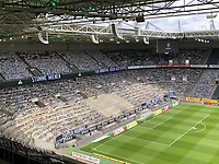 23rd May 2020, BORUSSIA-PARK, North Rhine-Westphalia, Germany; Bundesliga football, Borussia Moenchengladbach versus Bayer Leverkusen; Cardboard pictures of fans placed in the stands to support their teams