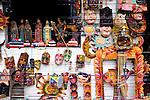 Close-up of traditional Guatemalan masks and handicrafts at market in Santiago Atitlan, Lake Atitlan, Guatemala