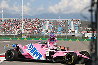 27th September 2020, Sochi, Russia; FIA Formula One Grand Prix of Russia, Race Day; #18 Lance Stroll (CAN, BWT Racing Point F1 Team) crashes into the wall on lap one and is out of the race