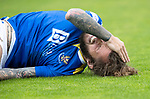 St Mirren v St Johnstone…29.08.21  SMiSA Stadium    SPFL<br />Stevie May takes a sore one<br />Picture by Graeme Hart.<br />Copyright Perthshire Picture Agency<br />Tel: 01738 623350  Mobile: 07990 594431