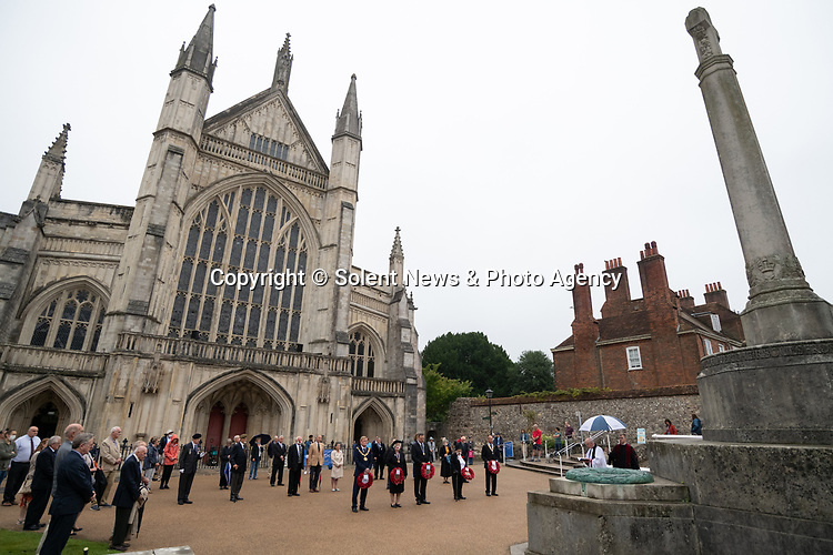 Pictured: The VJ Day service the outside Winchester Cathedral in Winchester, Hants. <br /> <br /> Today marks the 75th anniversary of VJ (Victory over Japan) Day, marking both the surrender of Japan and the end of the Second World War.<br /> <br /> © Jordan Pettitt/Solent News & Photo Agency<br /> UK +44 (0) 2380 458800