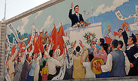 """Propaganda posters in Pyongyang, North Korea. The DPRK (Democratic People's Republic of Korea) is the last great dictatorship where the people are bombarded with images of the """"Eternal President"""" Kim Il-sung who died in 1994  and his son and current leader Kim Jong-il who are worshipped like a God."""