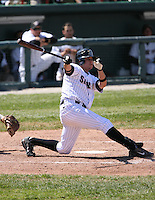 2007:  Jeff Larish of the Erie Seawolves follows through during an at bat vs. the Bowie Baysox in Eastern League baseball action.  Photo by Mike Janes/Four Seam Images