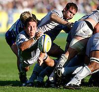 Photo: Richard Lane/Richard Lane Photography. Bath Rugby v Leicester Tigers. Aviva Premiership. 01/10/2011. Tigers' James Grindal passes.