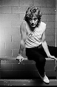 Denver Colorado<br /> USA<br /> September 24, 1983<br /> <br /> Robert Plant backstage before a concert at McNichols Arena. <br /> <br /> Robert Anthony Plant, (born 20 August 1948), is an English rock singer and songwriter, best known as the lead vocalist and lyricist of the rock band Led Zeppelin. He has also had a successful solo career. In 2007, Plant released Raising Sand, an album produced by T-Bone Burnett with American bluegrass soprano Alison Krauss, which won the 2009 Grammy Award for Album of the Year.