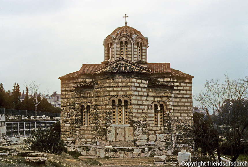 Athens: Octagonal Byzantine Church in Agora. Photo '82.