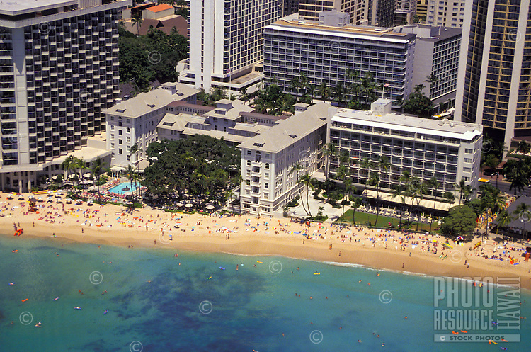 """Aerial view of the Moana Hotel on Waikiki beach. It's Banyan Courtyard was the home of the """"""""Hawaii Calls"""""""" radio show."""