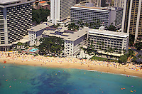 "Aerial view of the Moana Hotel on Waikiki beach. It's Banyan Courtyard was the home of the """"Hawaii Calls"""" radio show."