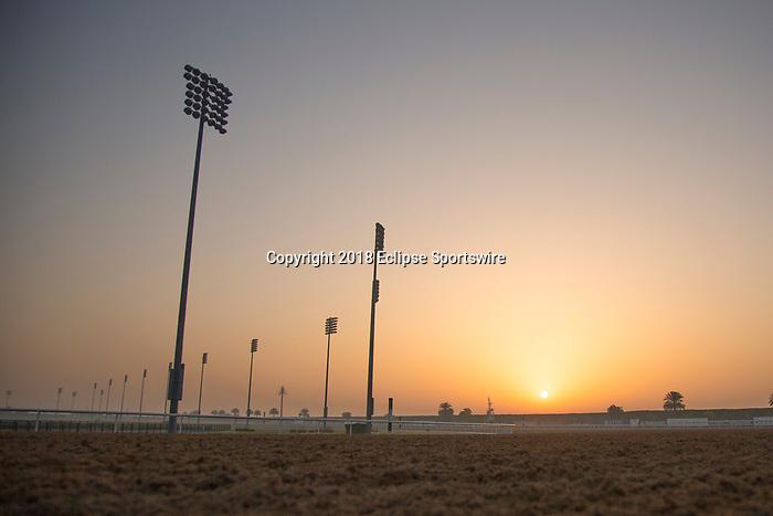 DUBAI,UNITED ARAB EMIRATES-MARCH 30: Sunrise at Meydan Racecourse on March 30,2018 in Dubai,United Arab Emirates (Photo by Kaz Ishida/Eclipse Sportswire/Getty Images)