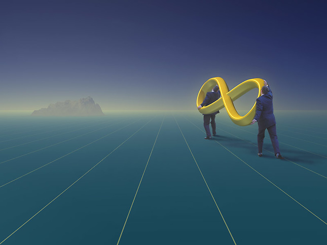 Men moving Infinity symbol