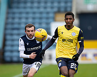 20th February 2021; Dens Park, Dundee, Scotland; Scottish Championship Football, Dundee FC versus Queen of the South; Paul McMullan of Dundee and Isaiah Jones of Queen of the South