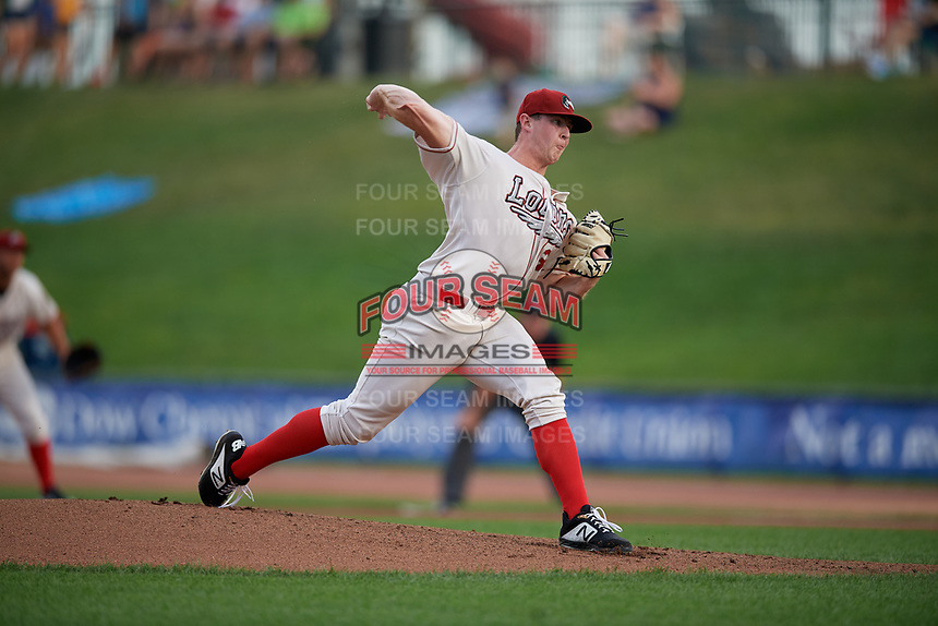 Great Lakes Loons pitcher Ryan Pepiot (37) during a Midwest League game against the Clinton LumberKings on July 19, 2019 at Dow Diamond in Midland, Michigan.  Clinton defeated Great Lakes 3-2.  (Mike Janes/Four Seam Images)