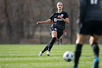 LOUISVILLE, KY - MARCH 13: Emily Fox #11 of Racing Louisville FC passes the ball during a game between West Virginia University and Racing Louisville FC at Thurman Hutchins Park on March 13, 2021 in Louisville, Kentucky.