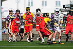 BERLIN, GERMANY - JUNE 22: Quarterfinal between Team Germany (red) vs Global Players (white) during the Berlin Open Lacrosse Tournament 2013 at Stadion Lichterfelde on June 22, 2013 in Berlin, Germany. Final score 9-10. (Photo by Dirk Markgraf/www.265-images.com)