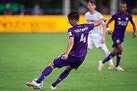 LAKE BUENA VISTA, FL - JULY 31: Joao Moutinho #4 of Orlando City SC kicks the ball during a game between Orlando City SC and Los Angeles FC at ESPN Wide World of Sports on July 31, 2020 in Lake Buena Vista, Florida.