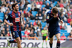 SD Eibar's Sergi Enrich (L) and Mariano Diaz (R) celebrate goal during La Liga match between Real Madrid and SD Eibar at Santiago Bernabeu Stadium in Madrid, Spain.April 06, 2019. (ALTERPHOTOS/A. Perez Meca)