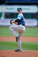 Trenton Thunder starting pitcher Nick Nelson (62) delivers a pitch during a game against the Hartford Yard Goats on August 26, 2018 at Dunkin' Donuts Park in Hartford, Connecticut.  Trenton defeated Hartford 8-3.  (Mike Janes/Four Seam Images)