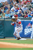 Syracuse Chiefs first baseman Neftali Soto (5) waits for a throw during a game against the Buffalo Bisons on July 3, 2017 at Coca-Cola Field in Buffalo, New York.  Buffalo defeated Syracuse 6-2.  (Mike Janes/Four Seam Images)
