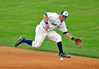 7 July 2008: Vermont Lake Monsters' infielder James Keithley makes a play at second during a game against the Batavia Muckdogs at Centennial Field in Burlington, Vermont. The Lake Monsters defeated the Muckdogs 3-2 in the final game of their 3-game series...Mandatory Photo Credit: Ed Wolfstein Photo