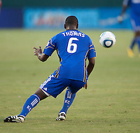 KC Wizard defender Shavar Thomas (6) gets ready to receive the ball during the second half of the game between Chivas USA and the Kansas City Wizards at the Home Depot Center in Carson, CA, on September 19, 2010. Final score Chivas USA 0, Kansas City Wizards 2.