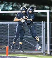 Andrew Edwards (7) of  Bentonville and Carson Cloyd (22)   celebrate touchdown against Fayetteville at Tigers Stadium, Bentonville, Arkansas on Friday, October 16, 2020 / Special to NWA Democrat-Gazette/ David Beach