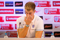 Goalkeeper Joe Hart of England looks dejected during his press conference