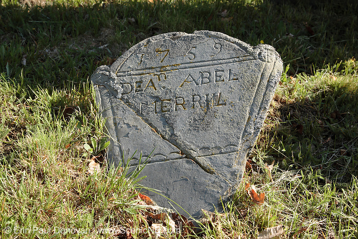 1700's Headstones at Walnut Hill Cemetery in West Newbury, Massachusetts USA.