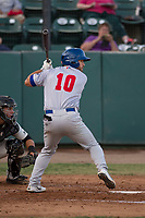 Stockton Ports second baseman Nate Mondou (10) at bat during a California League game against the Visalia Rawhide at Visalia Recreation Ballpark on May 8, 2018 in Visalia, California. Stockton defeated Visalia 6-2. (Zachary Lucy/Four Seam Images)